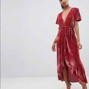 Crushed velvet deep v wrap dress